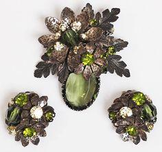 Vintage DeMario Olive Green Rhinestone Flower Pin Brooch Earrings Demi Parure 50s 1950s 60s 1960s