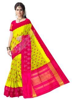 ikat bright yellow color saree