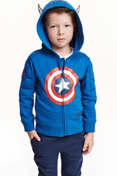Jacket in sweatshirt fabric with a print motif and appliqués, jersey-lined hood, padded sections on the sleeves, a zip down the front and ribbing at the cuf Baby Superhero, H&m Online, Cute Baby Clothes, Sport Wear, Fashion Company, Hoodies, Sweatshirts, T Shirts, Fashion Online