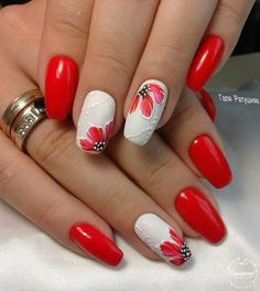 Red and white long nails with flowers - LadyStyle