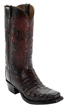 fede45e6b Lucchese 1883 Men s Black Cherry Ultra Belly Caiman 7-Toe Narrow Punchy Toe  Exotic Western Boots