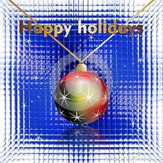 Happy holidays wishes, Cristmas ball and stars on a glass background