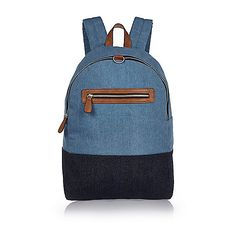 Blue mixed denim backpack - backpacks - bags - men