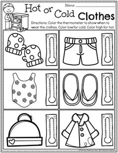 Weather Activities - Planning Playtime Weather Worksheets for Preschool - Hot or Cold Clothes worksheet Weather Activities Preschool, Kindergarten Worksheets, Worksheets For Kids, Educational Activities, Preschool Readiness, Sorting Kindergarten, Preschool Social Studies, Weather Lessons, Weather Worksheets