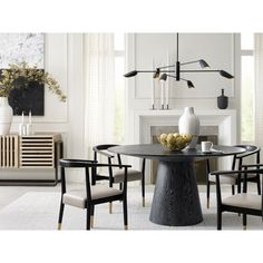 Round Dining Table And Chairs Dinning Room Tables, Dining Nook, Dining Room Design, Table And Chairs, Black Round Dining Table, Modern Dining Table, Black Dining Chairs, Decoration, Home Decor