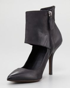 Teya Ankle-Cuff Pump by Vera Wang at Neiman Marcus.  What can't you wear w/ this hybrid shoe? Putting on this particular pump will elevate anything you wear. Give it a try & I'm sure you will like what you see looking back at you!
