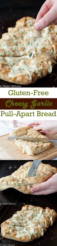 Gluten Free Cheesy Garlic Pull Apart Bread, also known as crack bread. Cheesy, buttery, garlicky pull apart gluten free bread so good you just can't stop eating it!