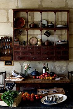 Would love to have some theme of wood and either brick or stone for the storage room. Love the concept of everything being open, tools and goods all out to decorate a beautiful work space! ~ Amy