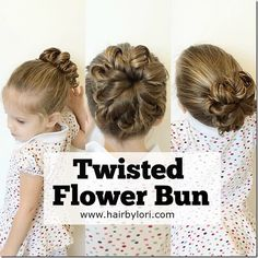 Twisted Flower Bun tutorial. This easy style is great for all ages. It stays put for dance or sports while being pretty enough to wear out as an updo!