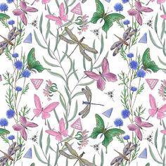 Wildflowers, butterflies, and dragonflies - 'Botanical Garden' by Ramiia Tiugunova / Patternbank