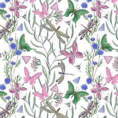 Botanical garden available exclusively on #patternbank – Watercolor painting beautiful seamless pattern with  fresh wild flowers and butterflies and dragonflies on white background. Included in the Extended Licence option is all elements in PNG with transparent background.  #newonpatternbank #patternbankdesigner  #pattern  #print #textile #watercolor  #fashion IG: @ramika_art