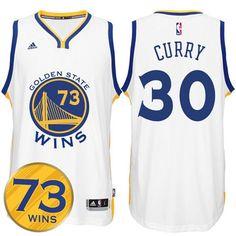 3dd02690b2d22 Golden State Warriors  30 Stephen Curry Record Breaking Season Exclusive 73  Wins White Swingman Jersey
