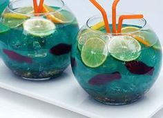 Fishbowl Punch (10 oz vodka  10 oz coconut rum  6 oz Blue Curacao liqueur  12 oz sweet-and-sour mix  20 oz pineapple juice  32 oz lemon- lime soda  blue food coloring, if desired  3  small fishbowls (each holding 4-5 cups volume)  1 box (6 oz) Nerds candy  12-16 Swedish fish candies  ice  fruit slices)
