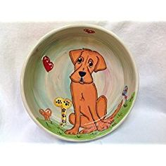 "Labrador 8"" Dog Bowl for Food or Water. Personalized at no Charge. Signed by Artist, Debby Carman."