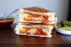 grilled double decker pizza sandwich. must make for girls - fun change for family pizza night