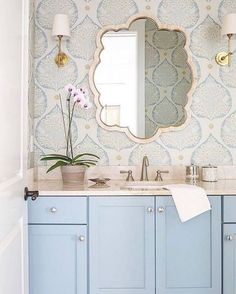 Pastel blue vanity with wallpaper | Dreamy bathroom ideas
