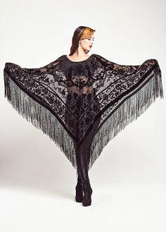 Samt Fringe Kimono Poncho - Vamp-Poncho Samt, Spitze, Schwarz, Der Samt df09f61119