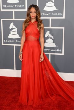 Rihanna arrives at the 55th Annual Grammy Awards at the Staples Center in Los Angeles, CA on February 10, 2013.