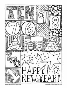Happy New Year coloring page for adults and grown ups. Hand drawn printable coloring page for a fun countdown to new year!