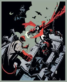 Spawn by Mike Mignola Marvel Comic Book Artists, Comic Book Characters, Comic Artist, Comic Character, Comic Books Art, Image Comics, Hellboy Movie, Hellboy Comics, Mike Mignola Art