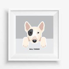 "Bull Terrier Puppy ,Bull Terrier Print,Cute Dog Print,Puppy watercolor,Pet Decor,digital Prints,nursery decor,8""x 8""inches (20,3x20,3cm)"