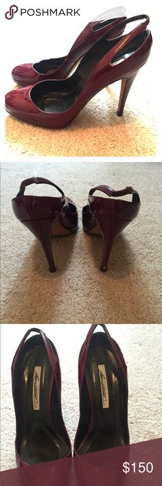 Brian Atwood sling back pumps 4.5 inch heel with a 1 inch platform in Maroon Brian Atwood Shoes Heels