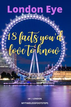 Sitting at 135m along the beautiful Southbank and handsomely rotating over the River Thames is the delightful London Eye, a masterpiece, and a symbol of London. But there are some facts you did not know about this cantilevered observation wheel via @GGeorgina_mytimelessfootsteps/ London Attractions, London Landmarks, London Travel, Travel Uk, Wanderlust Travel, Family Travel, Travel Tips, Warner Brothers Studio Tour, Legoland Windsor