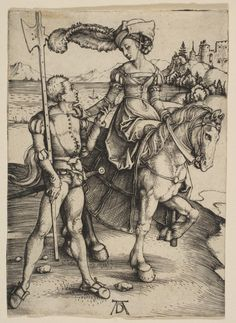 ab. 1497 Albrecht Durer - Lady on horseback and lansquenet