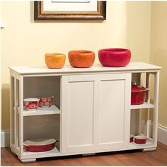 Hutch Stackable Kitchen Cabinet Storage China Pots Pans Buffet Shelf Door Slide #SimpleLiving