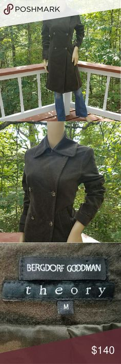 THEORY Sophisticated Dark Olive Green Velvet Coat Nothing quite conveys the same cozy elegance in the manner that rich velvet does. Opt to make this impeccable coat your everyday outerwear or a versatile, dress coat; this incredible find is not to be missed! * 97% cotton/3% lycra; * Fully lined; * Dark, olive green; * Thick velvet; * Semi-adjustable via 2 button panels at each cuff & at either side of back; * Duel, front pockets; * Double breasted design; * Broad, winged collar. EXCELLENT…