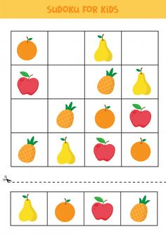 Sudoku for kids. educational worksheet for kids. Free Preschool, Kids Learning Activities, Preschool Activities, Math For Kids, Puzzles For Kids, Brain Teasers For Kids, Kids Math Worksheets, Teaching Style, Printable Planner Stickers