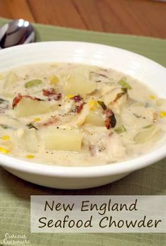 This recipe for New England Seafood Chowder creates a versatile and tasty soup, perfect for a cold winter day. | www.curiouscuisiniere.com