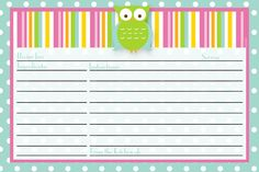 i should be mopping the floor: Friday's Freebie: Recipe Card Printables