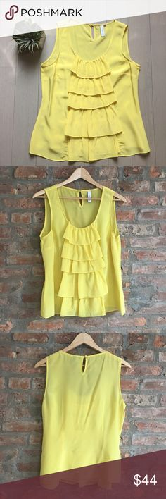 🆕 listing! Anthro Waterfall silk top Gorgeous and feminine, this Anthropologie waterfall polka dot yellow Blouse by Sine has hidden side zip closure and a cute keyhole button closure in back. Seen on Glee! Worn once, no flaws. 💕 Trusted, top 10% seller and fast shipper!  100% of proceeds are donated for cancer research Anthropologie Tops