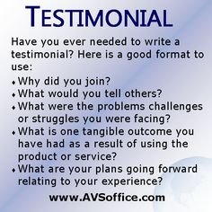 Have your ever needed to write a testimonial? Here is a good guide. #testimonial, #outline, #businesstestimony
