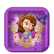 "Perfect for cake! Sofia the First Party 7"" Square Cake/Dessert Plates. One package of 8 Sofia the First Party 7"" Square Cake/Dessert Plates. Find it at https://www.ezpartyzone.com/pd-sofia-the-first-party-7-square-cake-dessert-plates.cfm"