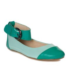 Teal Ife Leather Ankle-Strap Flat #zulily #zulilyfinds