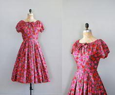 vintage 1950s Fireflower dress | http://www.etsy.com/listing/94499431/1950s-dress-floral-print-50s-dress    #vintage #etsy