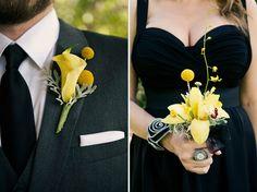 black and yellow wedding wedding party