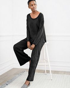 3c5ccd4592 Eileen Fisher Sleepwear Lounge Wide-Leg Pajama Pant Organic Cotton Black  NWT  88