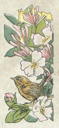 Wren in roses - lino cut print - Jane Kendall, U.K.                                                                                                                                                                                 More