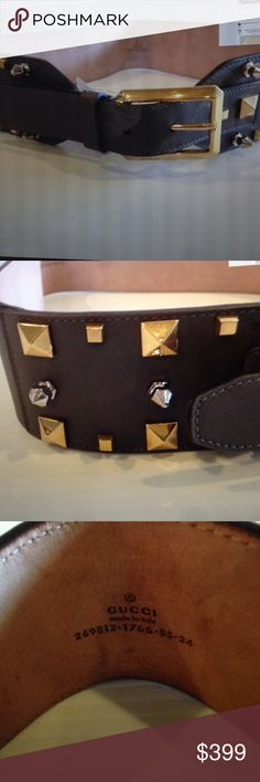 """Gucci Studded Belt Width about 2.25"""" pic closure leather made in Italy punk inspired studs Gucci Accessories Belts"""