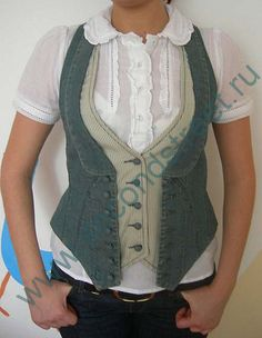 How to re-make a vest that is too small.   Cute effect.
