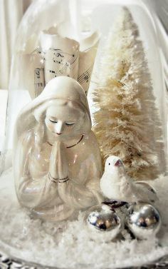 Lovely Vintage Mary statue in a Cloche for Christmas. White Christmas Decorating