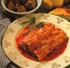 Spenótos-sajtos cannelloni Ricotta, Mozzarella, Lasagna, Meat, Chicken, Ethnic Recipes, Food, Essen, Meals