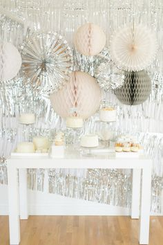 This dessert table backdrop is incredible: http://www.stylemepretty.com/2014/07/15/metallic-wedding-moments-we-love/