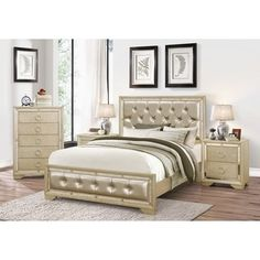 Celine 6-piece Mirrored and Upholstered Tufted King-size Bedroom Set   Overstock.com Shopping - The Best Deals on Bedroom Sets