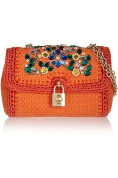 Dolce & Gabbana|Crystal-embellished raffia shoulder bag|NET-A-PORTER.COM