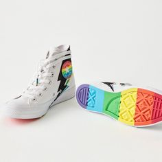 Now an annual fixture, this year's Converse Pride collection features version of the classic Chuck Taylor sneaker decked out with rainbow-coloured gradients and glitter bolt designs. Retail Branding, Pride Colors, Rainbow Print, Colorful Furniture, Gay Pride, Store Design, Chuck Taylor Sneakers, Branding Design, High Top Sneakers