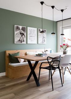 Home Interior Design — Green dining Dining Room Decor green dining room decor Green Dining Room, Dining Room Bench, Dining Room Design, Dining Area, Green Kitchen Walls, Dining Room Wall Art, Dining Room Colors, Küchen Design, House Design